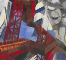 Robert Delaunay - Red Eiffel Tower (La Tour Rouge). Abstract painting: Eiffel, Tower , Tour , composition, lines, forms, creative fusion, music, kaleidoscope, illusion, fantasy future Sticker
