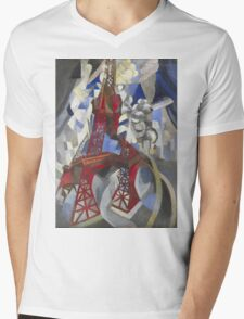 Robert Delaunay - Red Eiffel Tower (La Tour Rouge). Abstract painting: Eiffel, Tower , Tour , composition, lines, forms, creative fusion, music, kaleidoscope, illusion, fantasy future Mens V-Neck T-Shirt