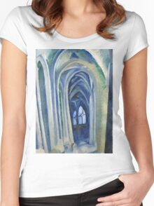 Robert Delaunay - Saint-Severin. Abstract painting: abstraction, geometric, expressionism, composition, lines, forms, creative fusion, music, kaleidoscope, illusion, fantasy future Women's Fitted Scoop T-Shirt