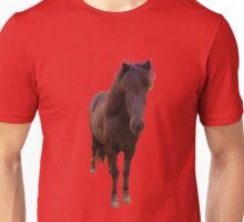 Icelandic horse on peach echo background Unisex T-Shirt