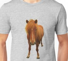 Icelandic horse on lilac grey background Unisex T-Shirt