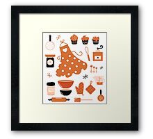 Black and orange retro baking set Framed Print