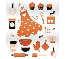 Black and orange retro baking set Poster