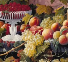 Severin Roesen - Fruit Still Life In A Landscape 1862. Still life with fruits and vegetables: strawberries , champagne,, lemon , grapes , cherries, peaches, apples, pears, apricots, raspberries, vase Sticker
