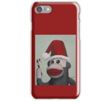 Christmas Sock Monkey with a Candy Cane  iPhone Case/Skin