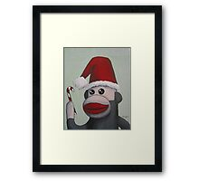Christmas Sock Monkey with a Candy Cane  Framed Print