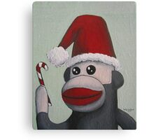 Christmas Sock Monkey with a Candy Cane  Canvas Print