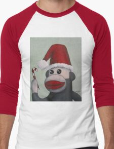 Christmas Sock Monkey with a Candy Cane  Men's Baseball ¾ T-Shirt