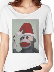 Christmas Sock Monkey with a Candy Cane  Women's Relaxed Fit T-Shirt