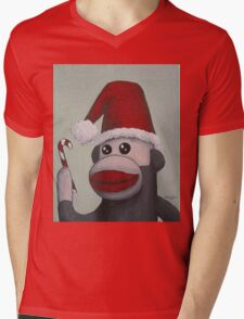 Christmas Sock Monkey with a Candy Cane  Mens V-Neck T-Shirt