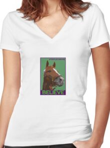 Believe in California Chrome Women's Fitted V-Neck T-Shirt