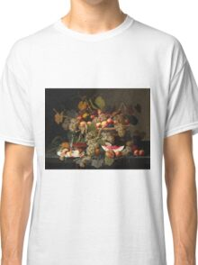 Severin Roesen - Still Life With Fruit 1852. Still life with fruits and vegetables: strawberries , champagne,, lemon , grapes , cherries, peaches, apples, pears, apricots, raspberries, vase Classic T-Shirt