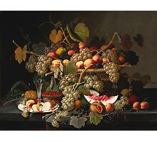 Severin Roesen - Still Life With Fruit 1852. Still life with fruits and vegetables: strawberries , champagne,, lemon , grapes , cherries, peaches, apples, pears, apricots, raspberries, vase Photographic Print