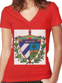Cuban Coat of Arms Women's Fitted V-Neck T-Shirt