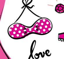 "Pink ""Paris Love"" inspired retro handdrawn Designs Sticker"