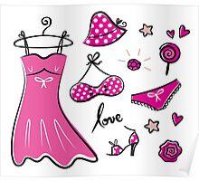 "Pink ""Paris Love"" inspired retro handdrawn Designs Poster"
