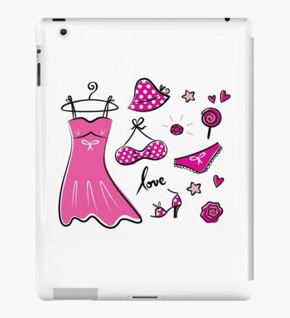 "Pink ""Paris Love"" inspired retro handdrawn Designs iPad Case/Skin"