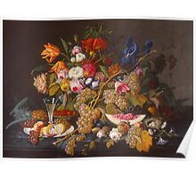 Severin Roesen - Still Life 1852. Still life with flowers: bouquet, flowers, bumblebee , carnations, peonies, roses, tulips, marigolds, life, garden, blossom Poster