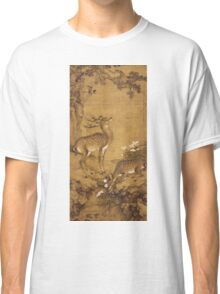 Shen Nanpin - A Birthday Painting, Qing Dynasty (1644-1911). Forest view: forest , trees, fauna, nature, birds, animals, flora, flowers, plants, field, weekend Classic T-Shirt