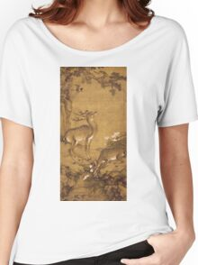 Shen Nanpin - A Birthday Painting, Qing Dynasty (1644-1911). Forest view: forest , trees, fauna, nature, birds, animals, flora, flowers, plants, field, weekend Women's Relaxed Fit T-Shirt