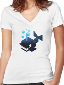 Poly Poly Whale Women's Fitted V-Neck T-Shirt