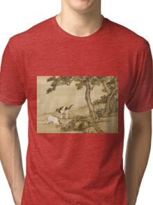 Shen Nanpin - Album Of Birds And Animals (Cats). Forest view: forest , trees,  fauna, nature, birds, animals, flora, flowers, plants, field, weekend Tri-blend T-Shirt