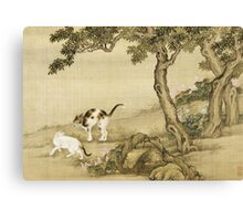 Shen Nanpin - Album Of Birds And Animals (Cats). Forest view: forest , trees,  fauna, nature, birds, animals, flora, flowers, plants, field, weekend Canvas Print