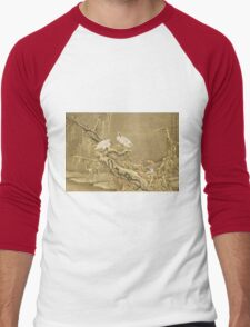 Shen Nanpin - Album Of Birds And Animals (Cranes). Forest view: forest , trees,  fauna, nature, birds, animals, flora, flowers, plants, field, weekend Men's Baseball ¾ T-Shirt