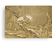 Shen Nanpin - Album Of Birds And Animals (Cranes). Forest view: forest , trees,  fauna, nature, birds, animals, flora, flowers, plants, field, weekend Canvas Print