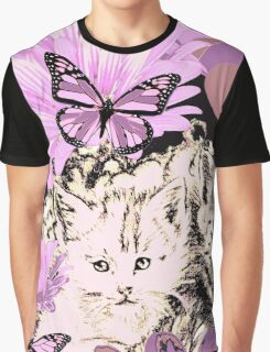 Frieda's Baby Cats in Pink Graphic T-Shirt