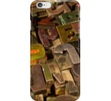 Antique wood letterpress printing blocks with color ink patina iPhone Case/Skin