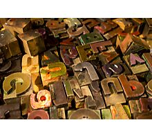 Antique wood letterpress printing blocks with color ink patina Photographic Print