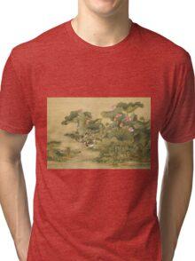 Shen Nanpin - Album Of Birds And Animals (Mandarin Ducks And Lotus Flowers). Forest view: forest , trees,  fauna, nature, birds, animals, flora, flowers, plants, field, weekend Tri-blend T-Shirt
