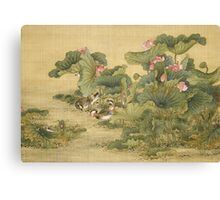 Shen Nanpin - Album Of Birds And Animals (Mandarin Ducks And Lotus Flowers). Forest view: forest , trees,  fauna, nature, birds, animals, flora, flowers, plants, field, weekend Canvas Print