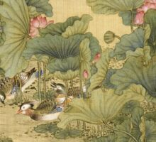 Shen Nanpin - Album Of Birds And Animals (Mandarin Ducks And Lotus Flowers). Forest view: forest , trees,  fauna, nature, birds, animals, flora, flowers, plants, field, weekend Sticker