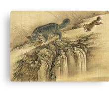 Shen Nanpin - Album Of Birds And Animals (Qilin). Forest view: forest , trees,  fauna, nature, birds, animals, flora, flowers, plants, field, weekend Canvas Print