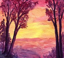 Sunset Trail - watercolor painting by M Rogers