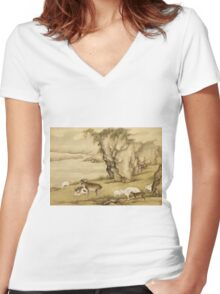Shen Nanpin - Album Of Birds And Animals (Sheep And Goats). Forest view: forest , trees,  fauna, nature, birds, animals, flora, flowers, plants, field, weekend Women's Fitted V-Neck T-Shirt