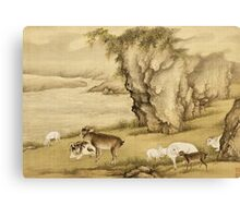 Shen Nanpin - Album Of Birds And Animals (Sheep And Goats). Forest view: forest , trees,  fauna, nature, birds, animals, flora, flowers, plants, field, weekend Canvas Print