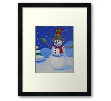 Snowman on Canvas  Framed Print