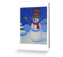 Snowman on Canvas  Greeting Card
