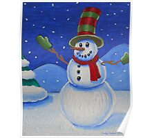 Snowman on Canvas  Poster