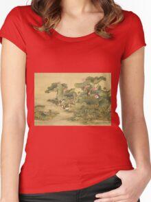 Shen Nanpin - Shen Nanpin. Forest view: forest , trees,  fauna, nature, birds, animals, flora, flowers, plants, field, weekend Women's Fitted Scoop T-Shirt