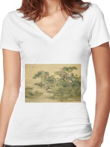 Shen Nanpin - Shen Nanpin. Forest view: forest , trees,  fauna, nature, birds, animals, flora, flowers, plants, field, weekend Women's Fitted V-Neck T-Shirt