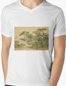 Shen Nanpin - Shen Nanpin. Forest view: forest , trees,  fauna, nature, birds, animals, flora, flowers, plants, field, weekend Mens V-Neck T-Shirt