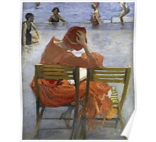 Sir John Lavery - Girl In A Red Dress, Seated By A Swimming Pool. Woman portrait: woman, Girl , reading,  women, hat, beautiful ,  Red Dress,  Swimming , Pool, expectation, dream Poster