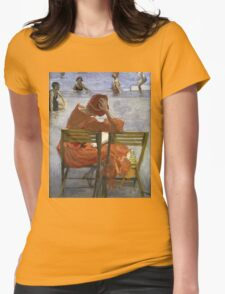 Sir John Lavery - Girl In A Red Dress, Seated By A Swimming Pool. Woman portrait: woman, Girl , reading,  women, hat, beautiful ,  Red Dress,  Swimming , Pool, expectation, dream Womens Fitted T-Shirt