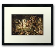 Sir Joseph Noel Paton - The Quarrel Of Oberon And Titania 1849. Fairy painting: fairy, fairies, nymph, nymphs, child, baby , dwarves, dwarf , elf , elves, goblin  Framed Print
