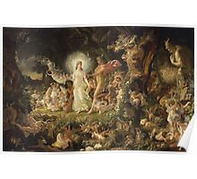 Sir Joseph Noel Paton - The Quarrel Of Oberon And Titania 1849. Fairy painting: fairy, fairies, nymph, nymphs, child, baby , dwarves, dwarf , elf , elves, goblin  Poster
