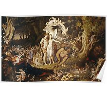 Sir Joseph Noel Paton - The Reconciliation Of Oberon And Titania. Fairy painting: fairy, fairies, nymph, nymphs, child, baby , dwarves, dwarf , elf , elves, goblin  Poster